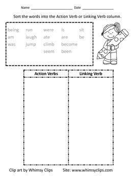 verb and linking verb sort worksheet linking