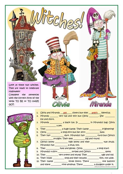 esl witch worksheets