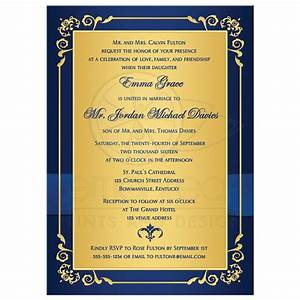 wedding invitation royal blue gold floral monogram With royal blue indian wedding invitations