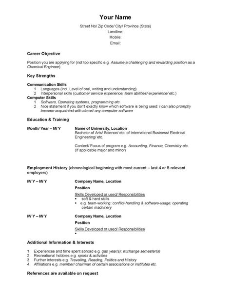exles of resumes standard resume sle