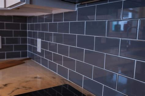 dark grey subway tiles