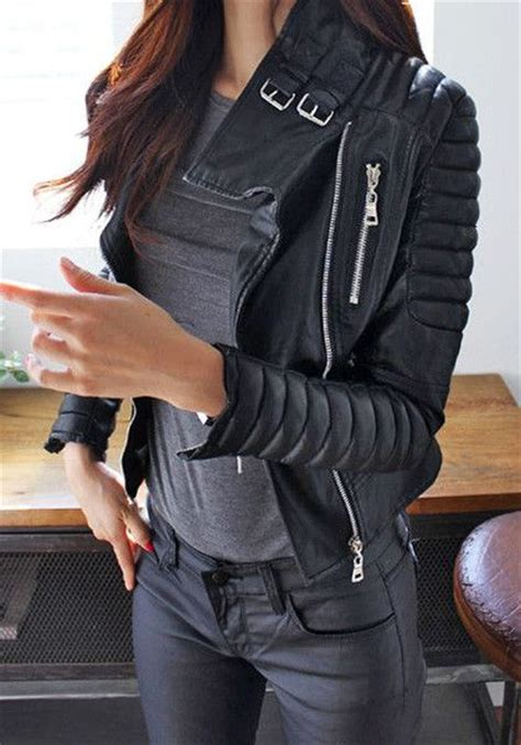 Create a chic u0026quot;badassu0026quot; look in this black PU quilted biker jacket. It features padded shoulders ...