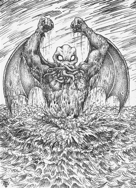 Cthulhu Rising Drawing by Dan Moran