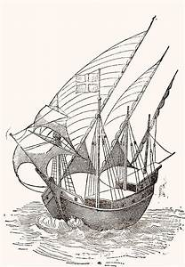 A 15th Century Caravel Drawing By Spanish School