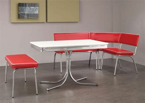 1950s style chrome retro dining table benches corner