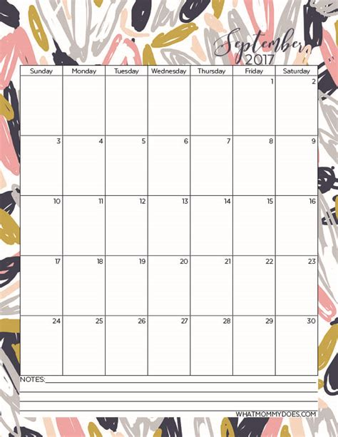 printable  monthly calendars  mommy