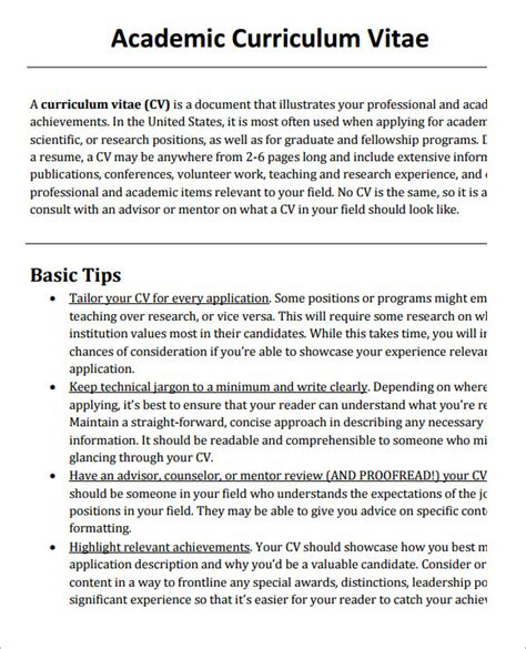 Check spelling or type a new query. FREE 8+ Sample Academic CV Templates in PDF | MS Word