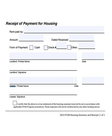 lease receipt templates  sample  format