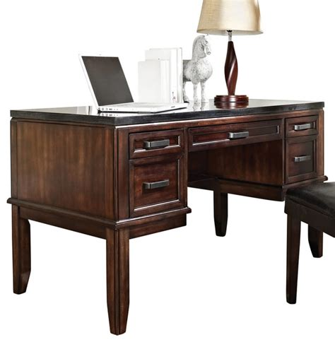 Black Writing Desk With Hutch by Steve Silver Chamberlain Black Granite Top Writing Desk