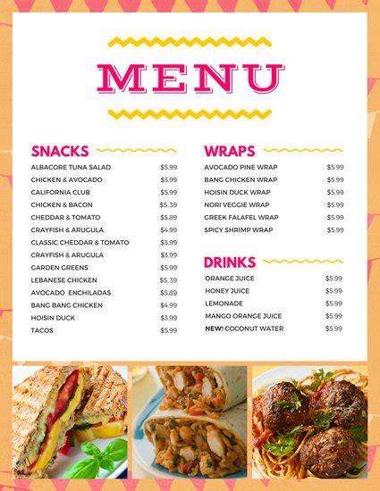 Snack Bar Menu Template by Customize 246 Bar Menu Templates Canva