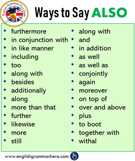 other ways to say also Archives - English Grammar Here