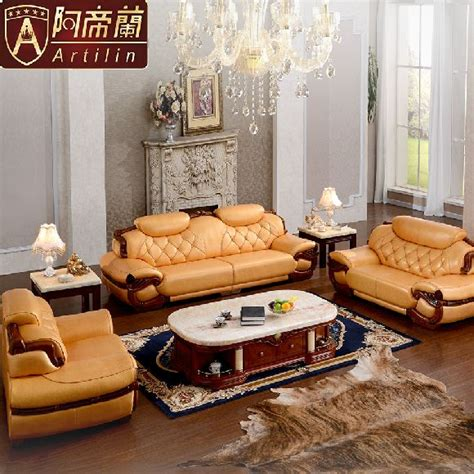 canape cuir italien luxe artilin luxury recliner oak solid wood sofa couches for living room furnitures classic style