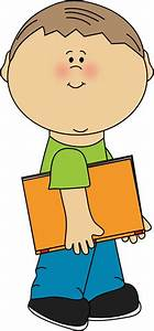 Boy with Book Under His Arm Clip Art - Boy with Book Under ...
