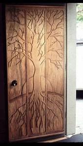 Log Home Deer Carved Door ARTESANIAS EN MADERA