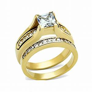 His hers 3 pcs gold plated men39s matching band women39s for Wedding gold rings for women