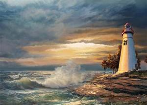 Sunset With Ohio Marble Head Lighthouse Painting by Regina