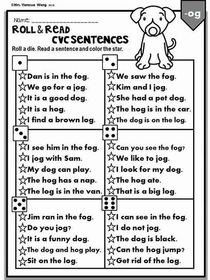 Worksheets Phonics Sentences Short Cvc Kindergarten Roll