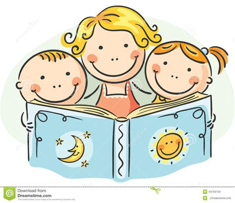 children reading together clipart and reading together stock vector