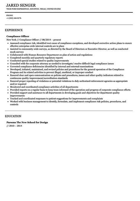 Compliance Analyst Resume by Compliance Officer Resume Sle Velvet