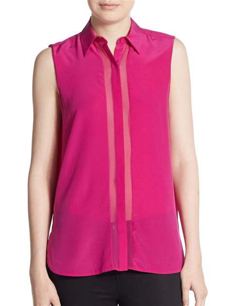 sleeveless button blouse lyst vince sleeveless silk crepe button front blouse in pink