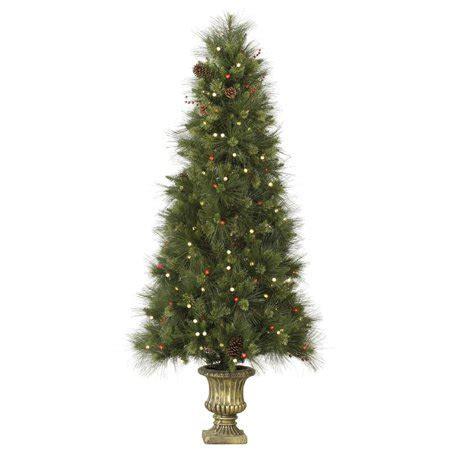 slim led christmas tree 4 potted slim inoko pine artificial tree warm white led lights walmart