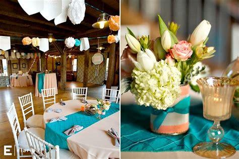 Peach White Teal Wedding Colors Centerpiece Ideas The