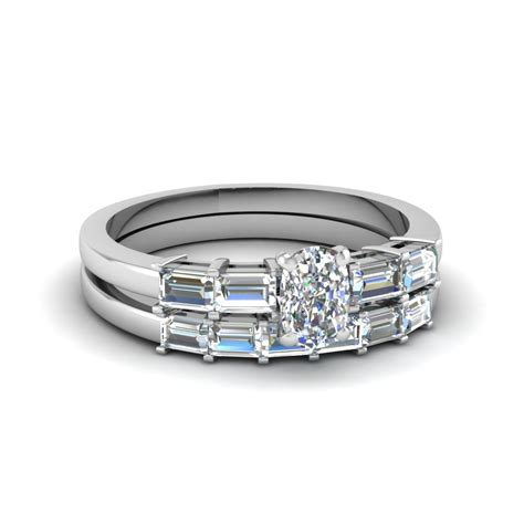 cushion cut baguette accent wedding ring sets in 14k white gold fascinating diamonds