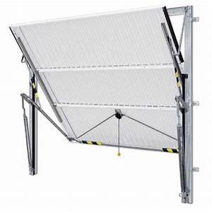 Porte de garage basculante debordante sans rails panneau for Porte de garage basculante sans rail