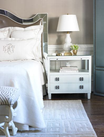 white mirrored nightstand mirrored headboard transitional bedroom