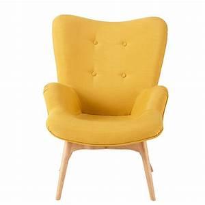 Chaise Scandinave Jaune : chaise scandinave jaune moutarde fauteuil poppy esprit meuble salon tabouret tissu rectangulaire ~ Teatrodelosmanantiales.com Idées de Décoration