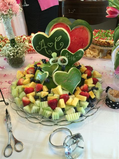 fruit tray watermelon sculpture  alexs bridal shower