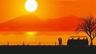 4k Couple Illustrator Romantic Sunset Silhouette 1080