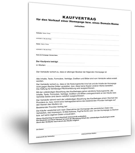 Kaufvertrag Muster Website (kostenloser Download