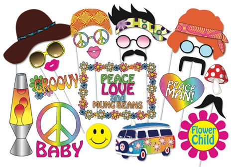 hippie party photo booth props set  piece printable