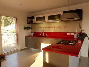 Pinterest Cuisine : plan de travail quartz rouge en cuisine nos r alisations ~ Carolinahurricanesstore.com Idées de Décoration