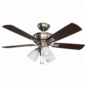 Hampton bay ceiling fan light bulb : Hampton bay vaurgas in led indoor brushed nickel