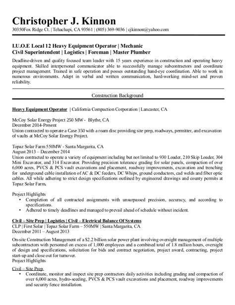 Plumbing Resume Objective by Christopher Kinnon Resume