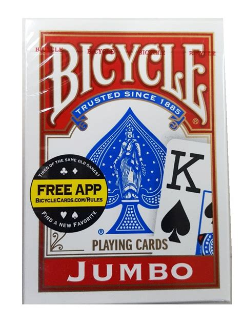 bicycle poker jumbo index playing cards red