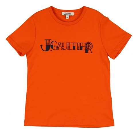 themed shirts junior gaultier boys orange t shirt with nautical themed