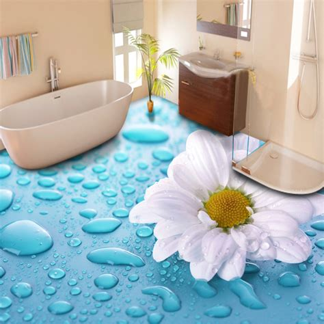 3d tiles for bathroom custom floor wallpaper 3d stereoscopic drops flower vinyl