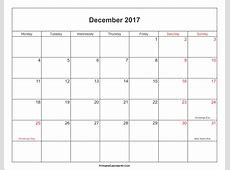 December 2017 Calendar With Holidays yearly printable
