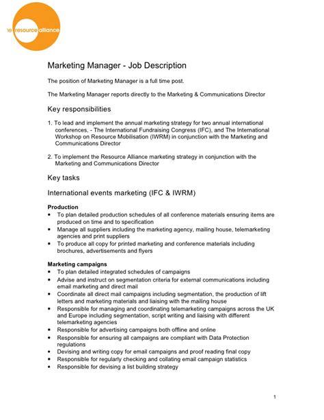 marketing manager description