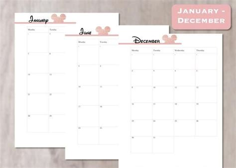 disney style  calendar rose gold minnie mouse style