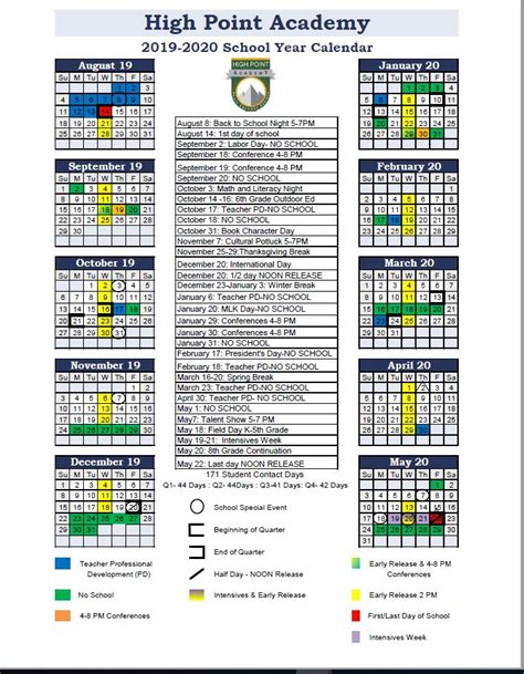 school calendar high point academy
