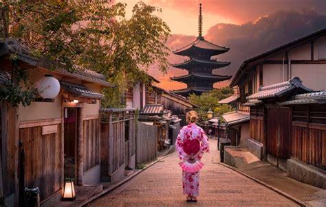 wallpaper girl sunset  city street japanese japan