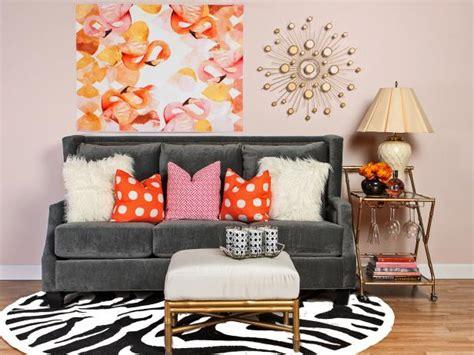 glam pink living room  flamingo art  gray sofa hgtv