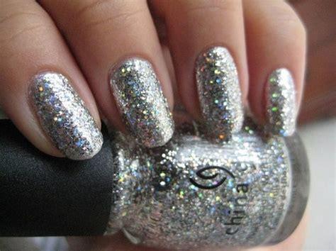 glitter nail polish nails paznokcie silver sparkles