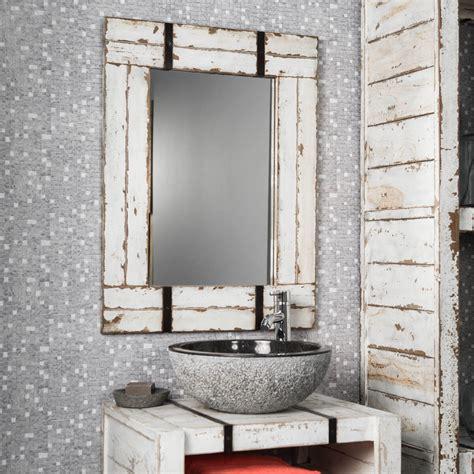 miroir de salle de bain en mindi 60x80 loft blanc