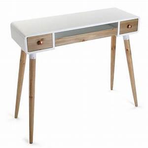 Console Bois Blanc : table bureau console avec tiroirs design scandinave bois et bois blanc versa treveris 21120024 ~ Teatrodelosmanantiales.com Idées de Décoration