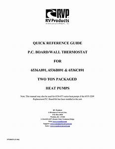 Quick Reference Guide Pc Board  Wall Thermostat For